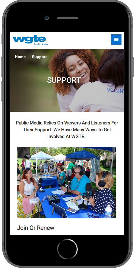 WGTE Public Media Radio Support Page Mobile
