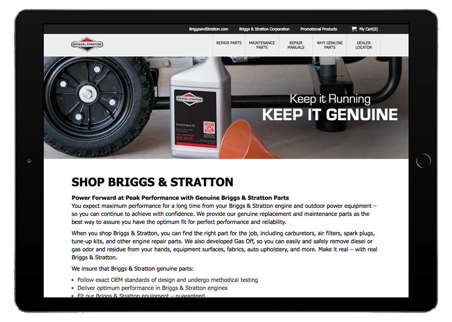 Briggs and Stratton Ecommerce iPad