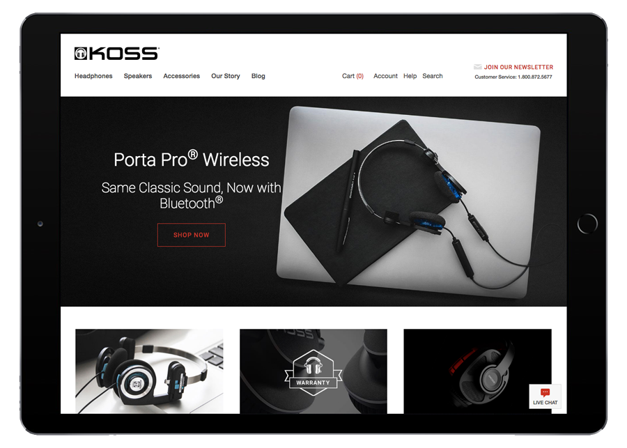 Koss Headphones Homepage iPad