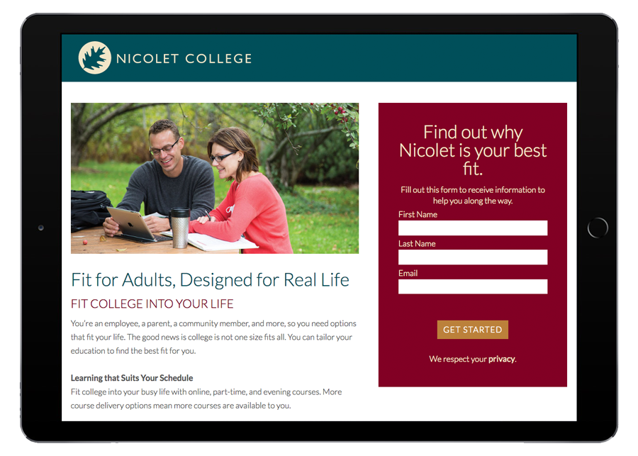 Nicolet College Marketing Homepage iPad