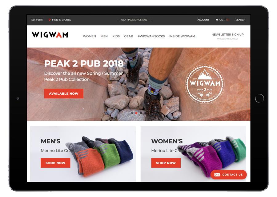 Wigwam Homepage iPad