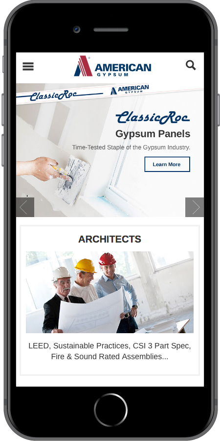 American Gypsum Homepage Mobile