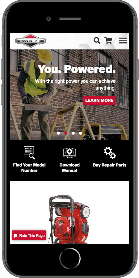 Briggs and Stratton Homepage Mobile