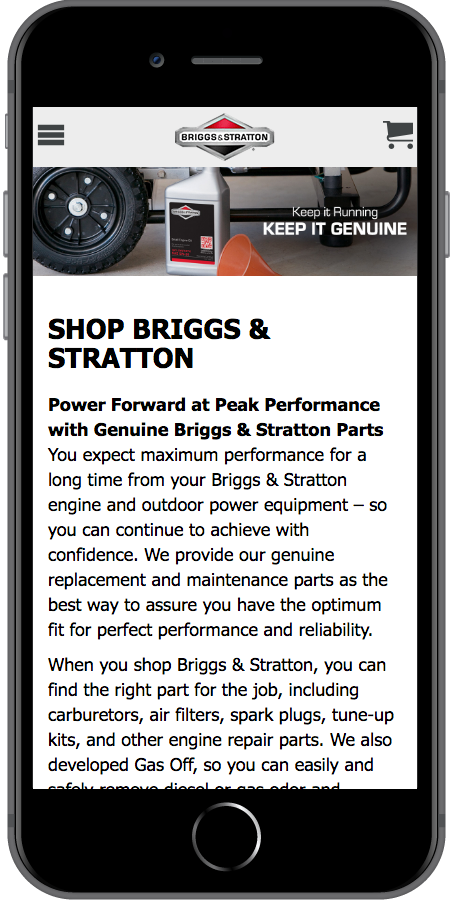 Briggs and Stratton Ecommerce Mobile