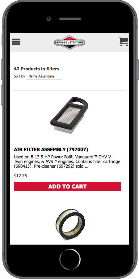 Briggs and Stratton Ecommerce Product Mobile