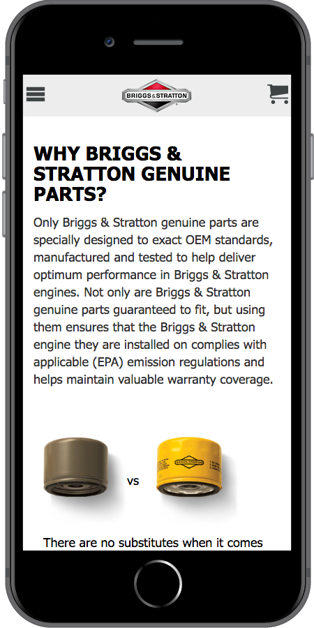 Briggs and Stratton Ecommerce Genuine Mobile