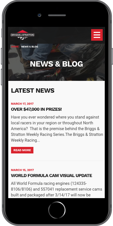 Briggs and Stratton Racing News and Blog Mobile