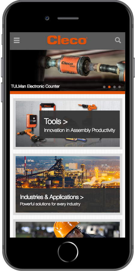 Cleco Power Tools Homepage Mobile