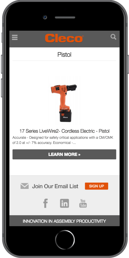 Cleco Power Tools Product Page Mobile