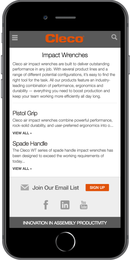 iPhone-Cleco Power Tools Landing Page Mobile