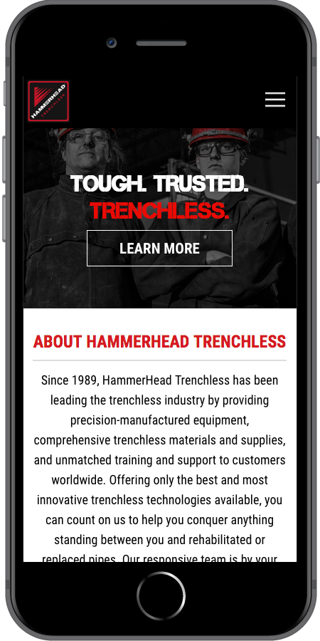 HammerHead Trenchless Homepage Mobile