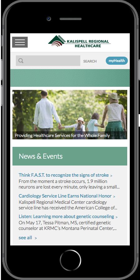 Kalispell Regional Healthcare Homepage Mobile