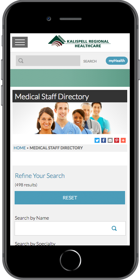 Kalispell Regional Healthcare Directory Mobile