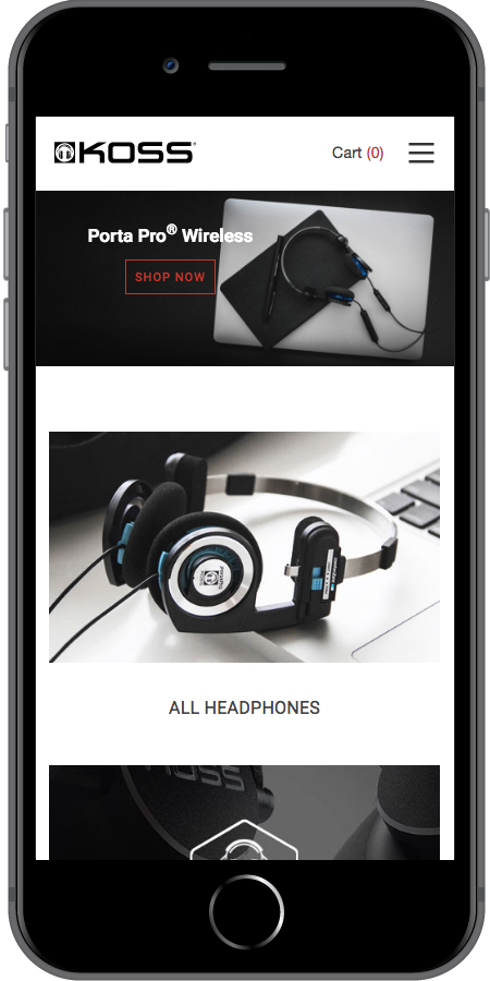 Koss Headphones Homepage iPhone