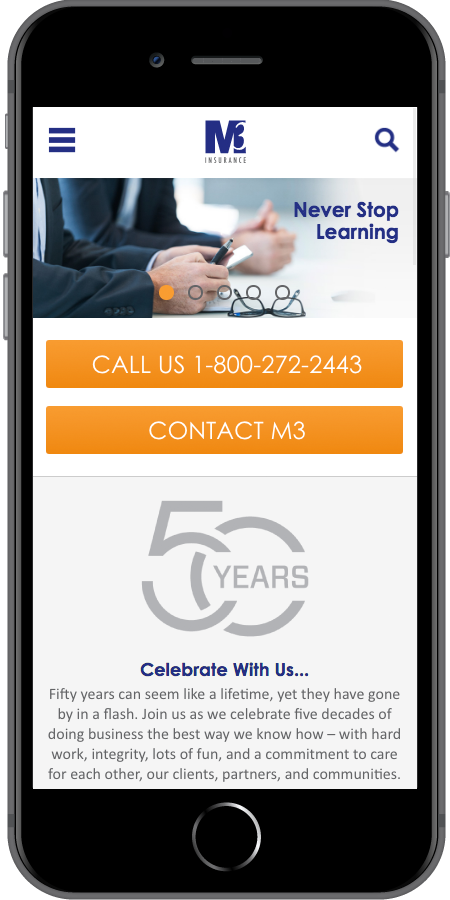 M3 Insurance Homepage Mobile