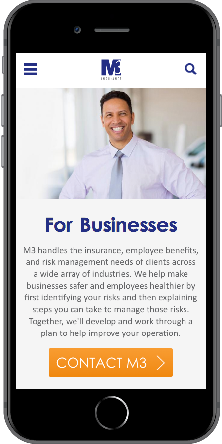 M3 Insurance Landing Page Mobile