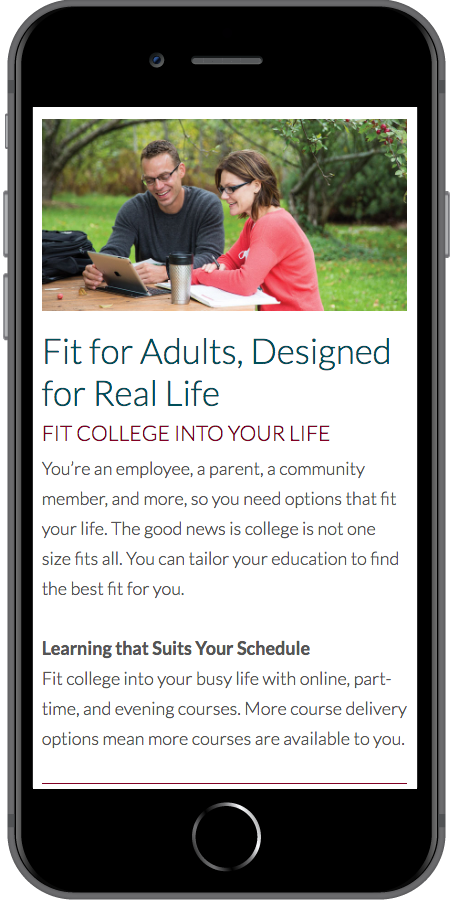 Nicolet College Homepage Mobile2