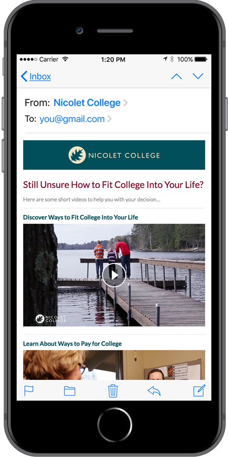 Nicolet College Homepage Mobile3