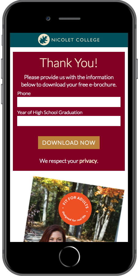 Nicolet College Online Strategy Mobile