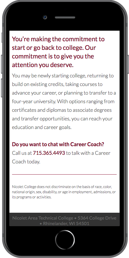 Nicolet College Online Strategy Mobile2