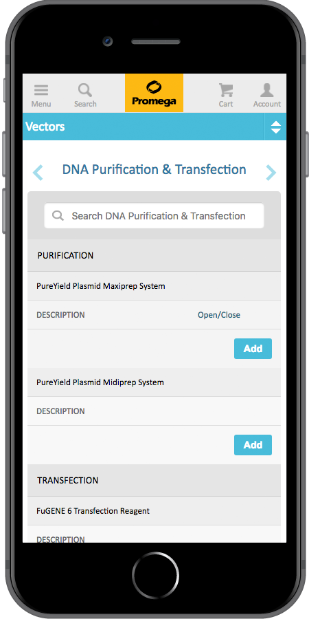 Promega App Purification Page Mobile