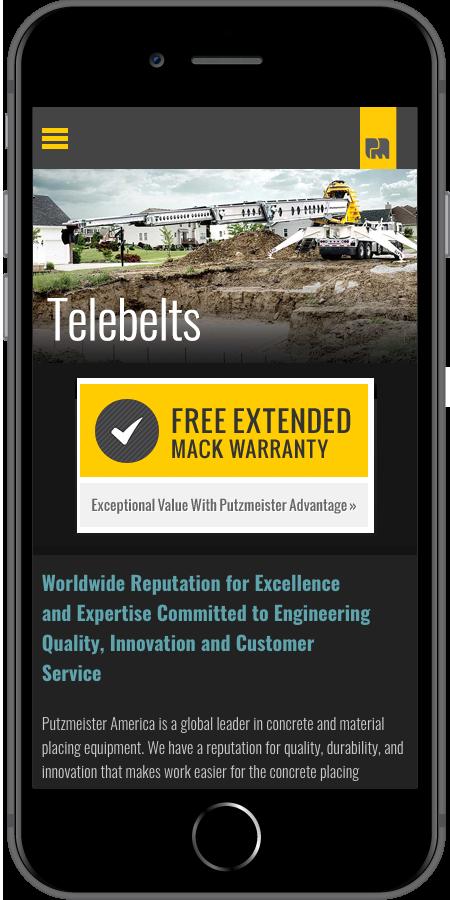 Putzmeister Homepage Mobile