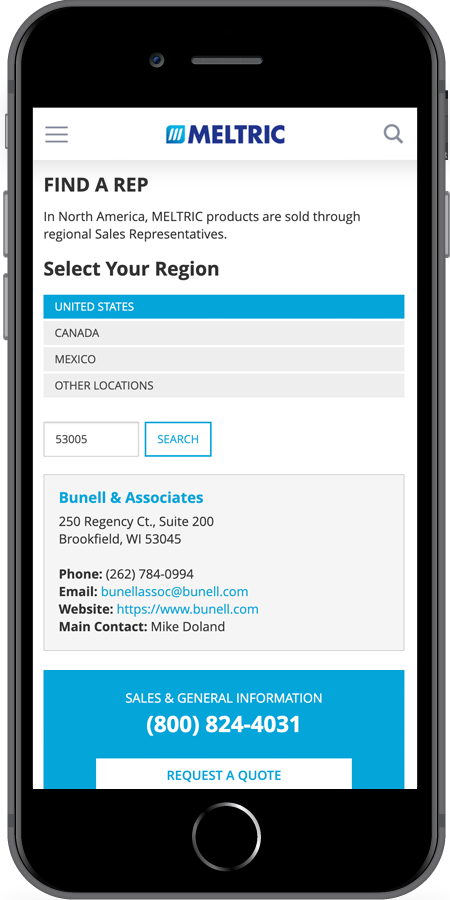 Meltric Find a Rep mobile screenshot